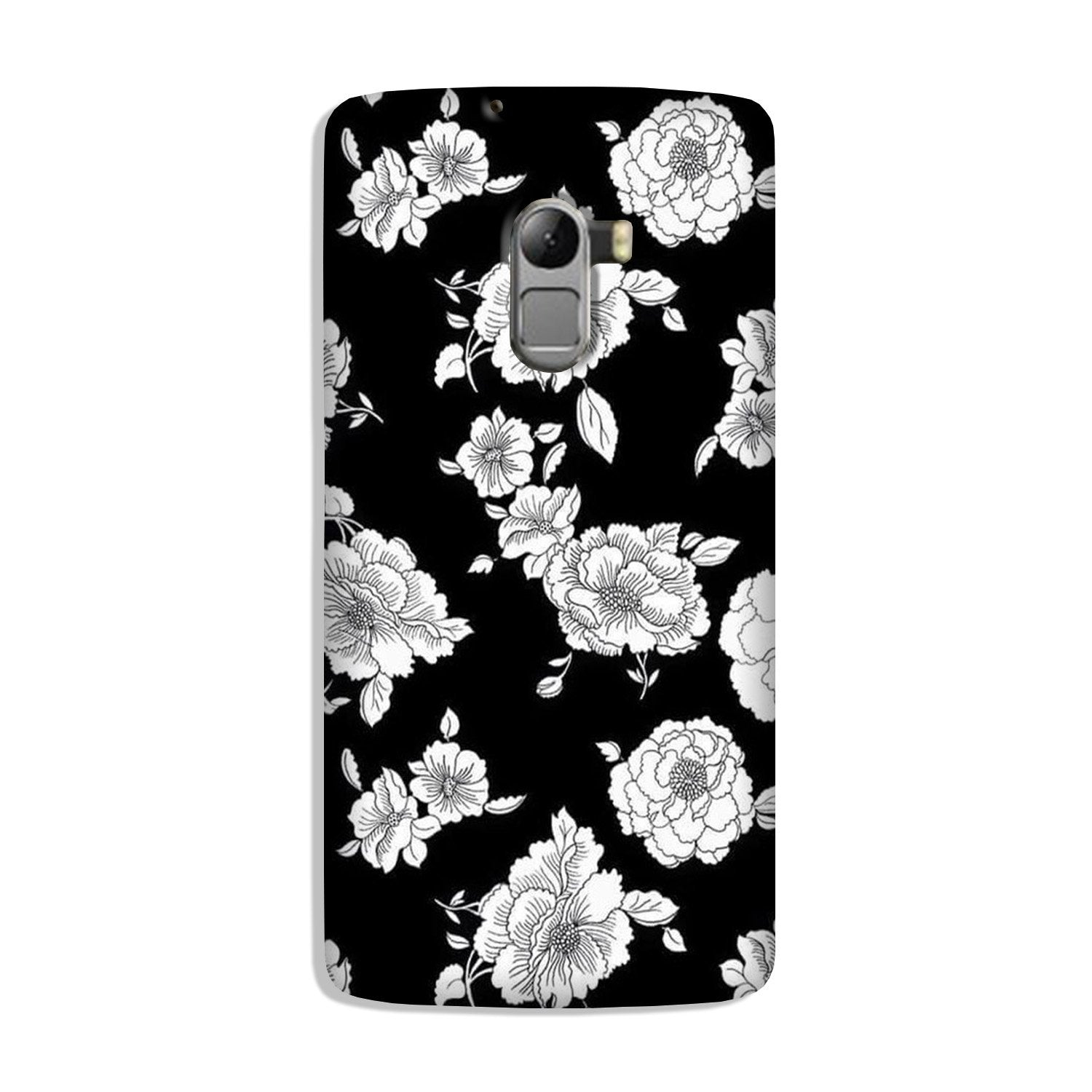 White flowers Black Background Case for Lenovo K4 Note