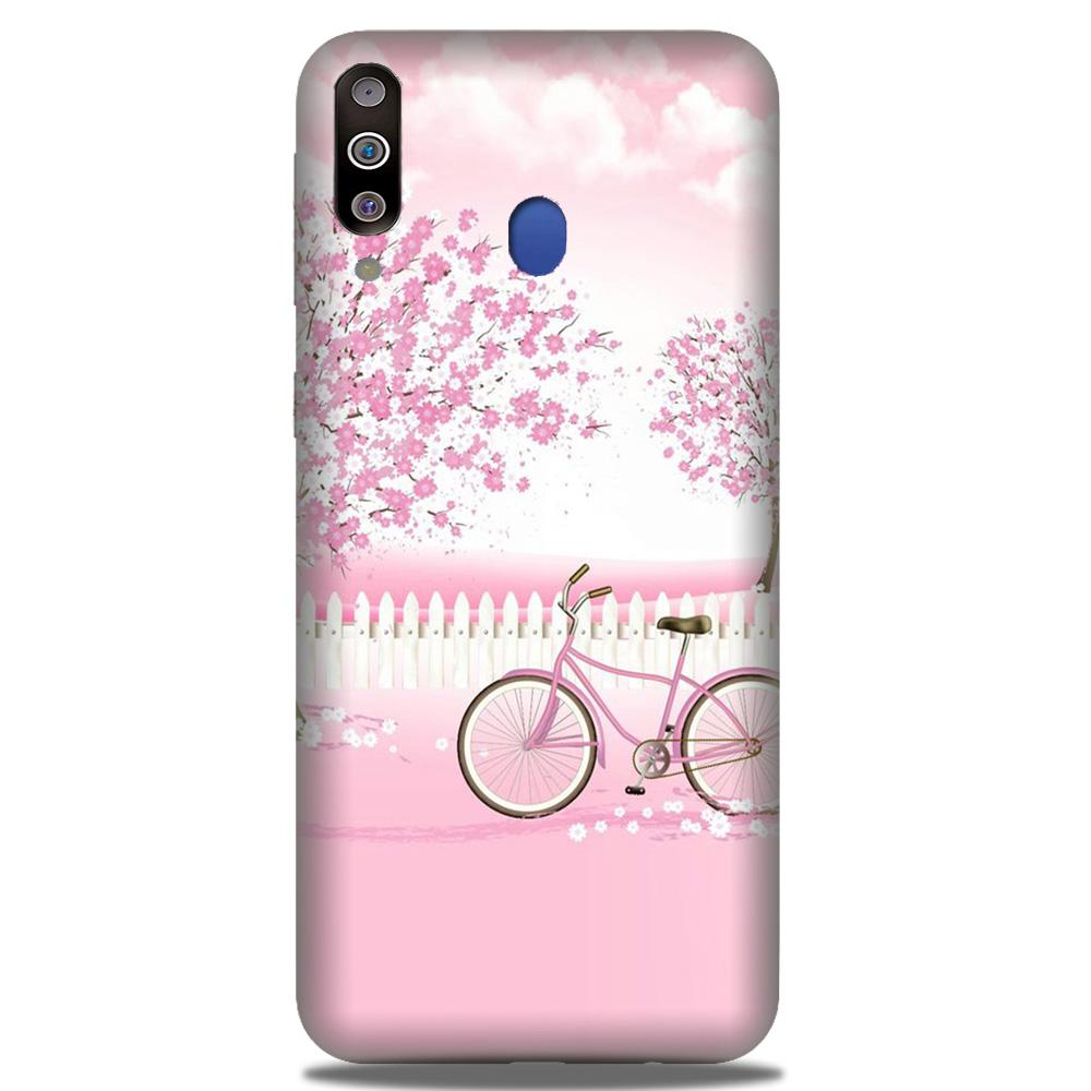 Pink Flowers Cycle Case for Samsung Galaxy M30  (Design - 102)