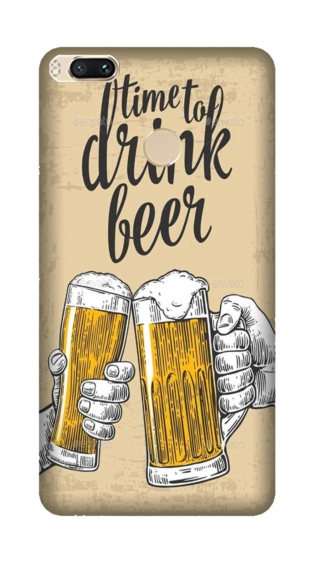 Drink Beer Mobile Back Case for Mi A1  (Design - 328)