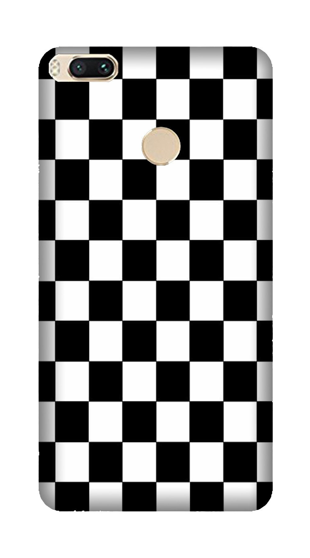 Black White Boxes Mobile Back Case for Mi A1  (Design - 372)