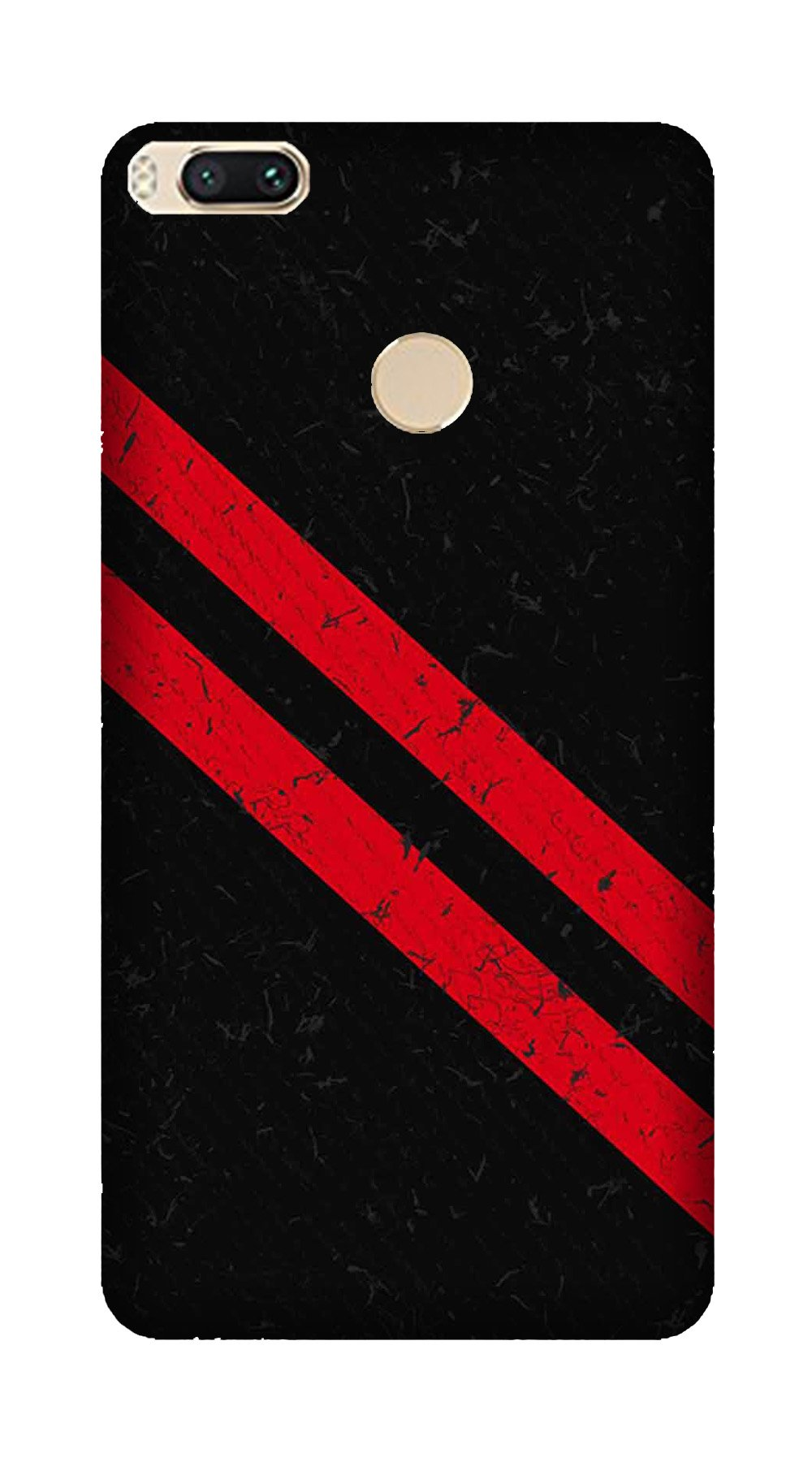 Black Red Pattern Mobile Back Case for Mi A1  (Design - 373)
