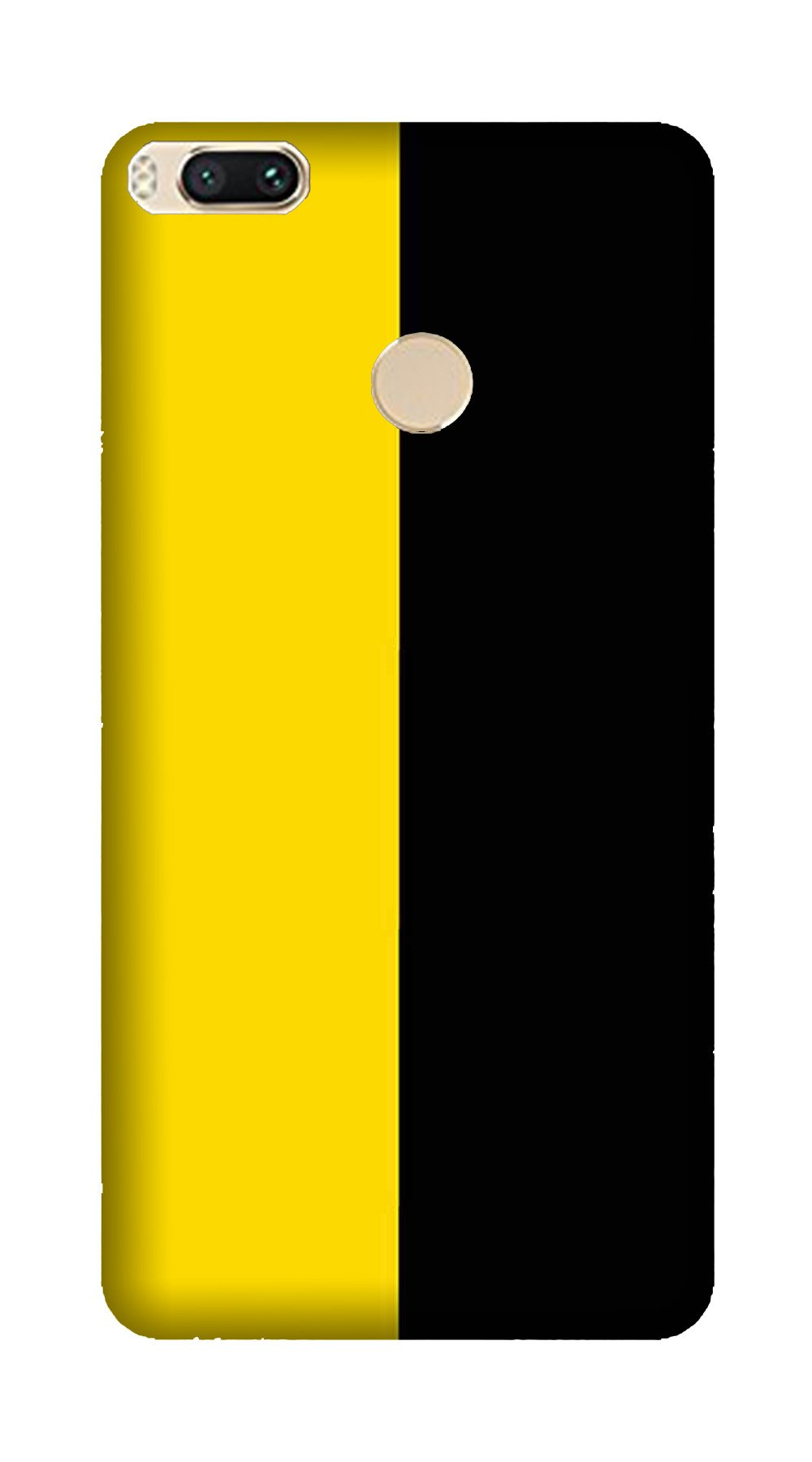 Black Yellow Pattern Mobile Back Case for Mi A1  (Design - 397)