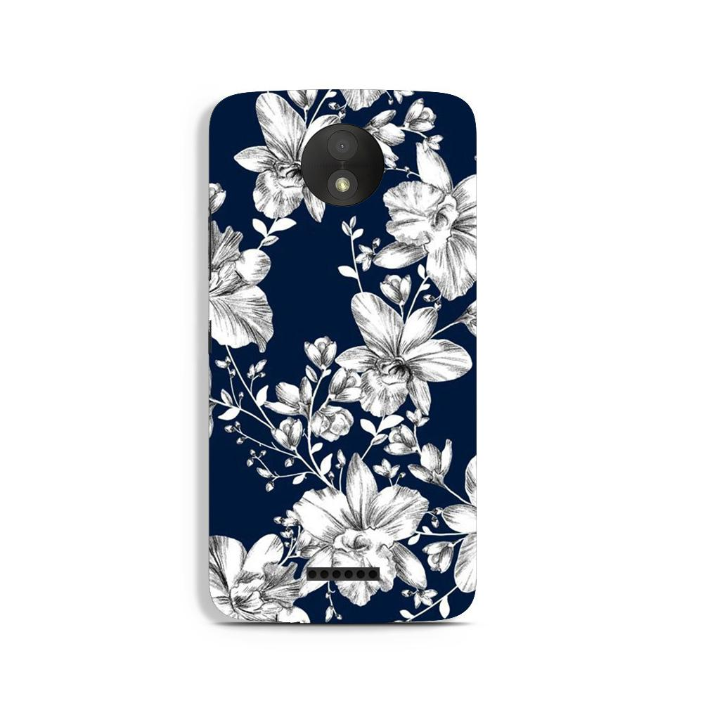 White flowers Blue Background Case for Moto C