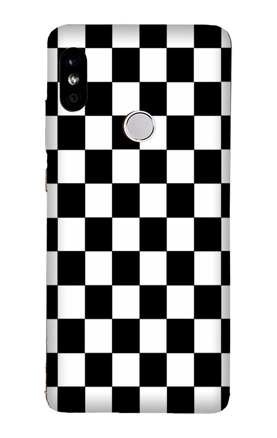 Black White Boxes Mobile Back Case for Mi A2  (Design - 372)