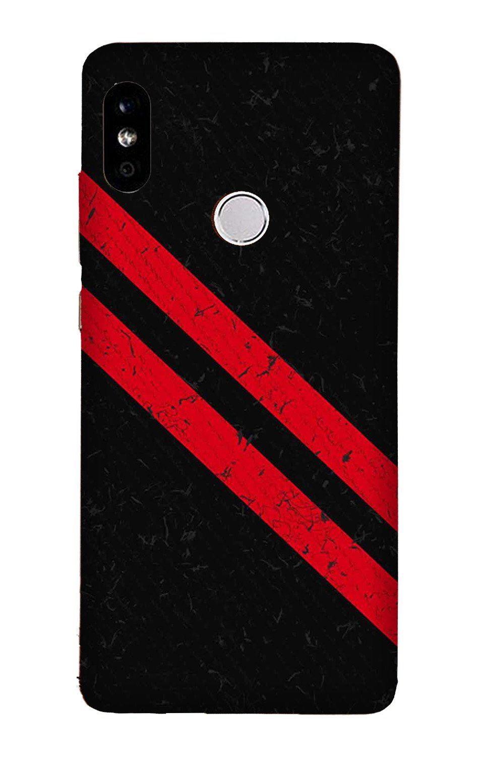 Black Red Pattern Mobile Back Case for Mi A2  (Design - 373)