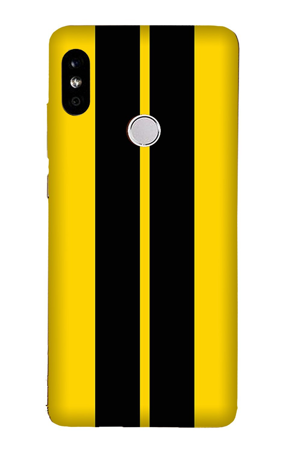 Black Yellow Pattern Mobile Back Case for Mi A2  (Design - 377)