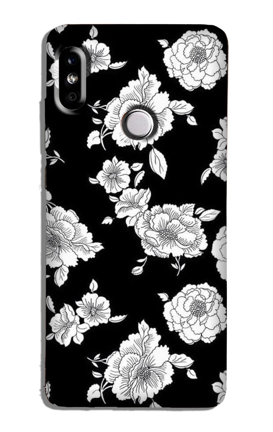 White flowers Black Background Case for Redmi 6 Pro