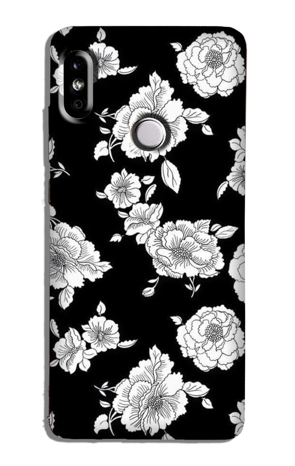White flowers Black Background Case for Redmi Note 5 Pro