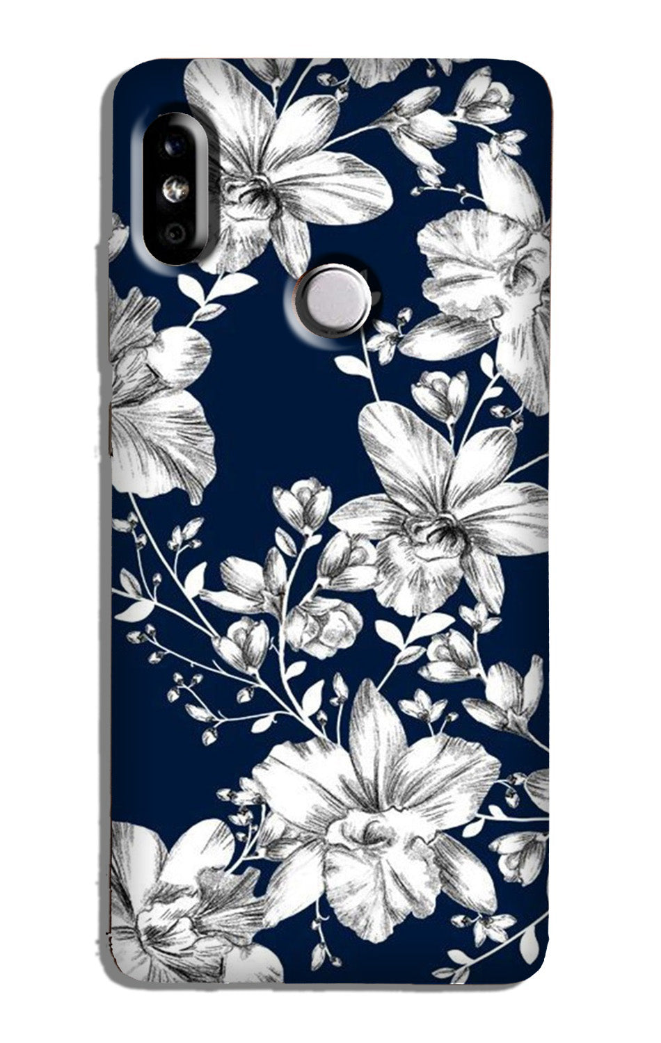 White flowers Blue Background Case for Redmi 6 Pro
