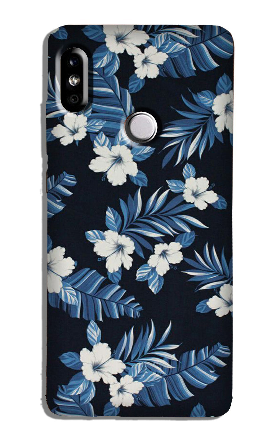White flowers Blue Background2 Case for Redmi Note 6 Pro