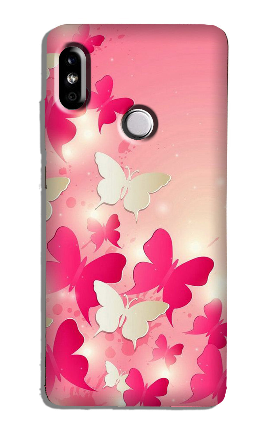 White Pick Butterflies Case for Redmi Note 6 Pro