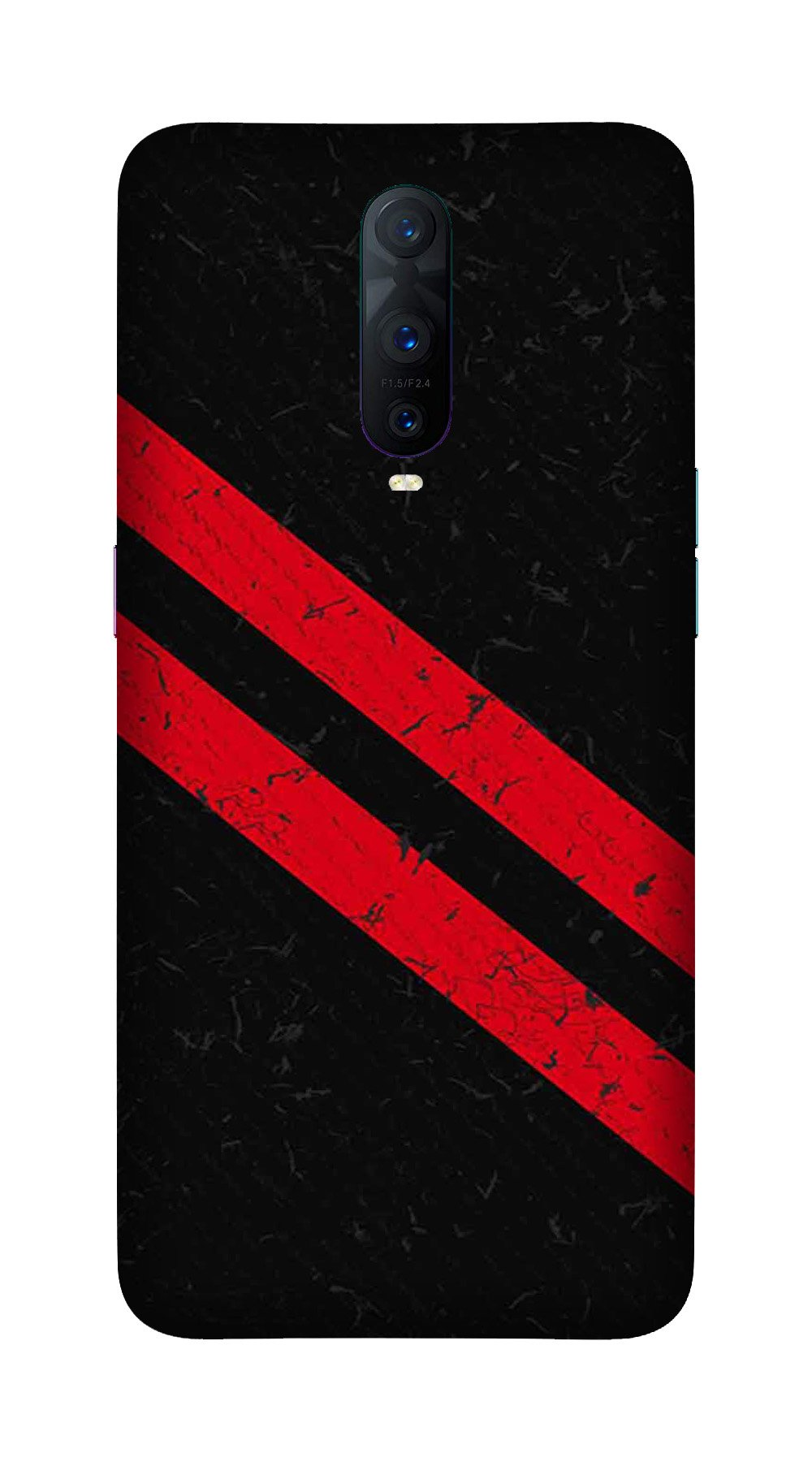 Black Red Pattern Mobile Back Case for OnePlus 7 Pro (Design - 373)