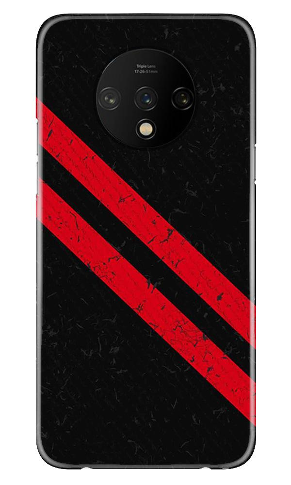 Black Red Pattern Mobile Back Case for OnePlus 7T  (Design - 373)