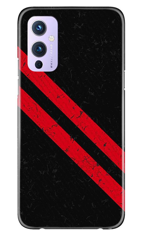 Black Red Pattern Mobile Back Case for OnePlus 9 (Design - 373)