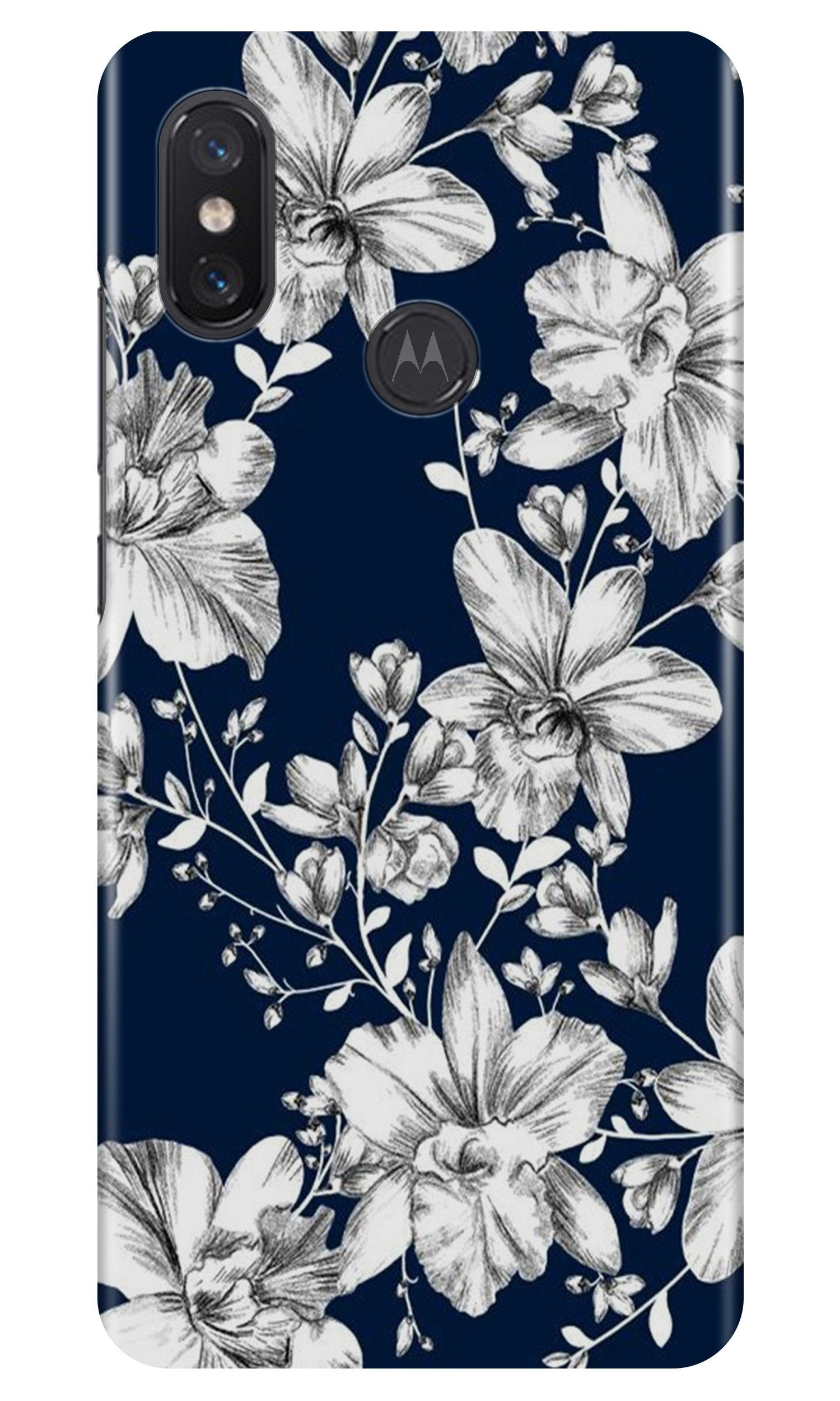 White flowers Blue Background Case for Moto One Power