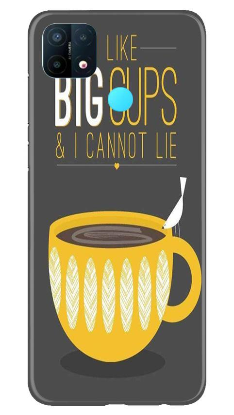 Big Cups Coffee Mobile Back Case for Oppo A15 (Design - 352)