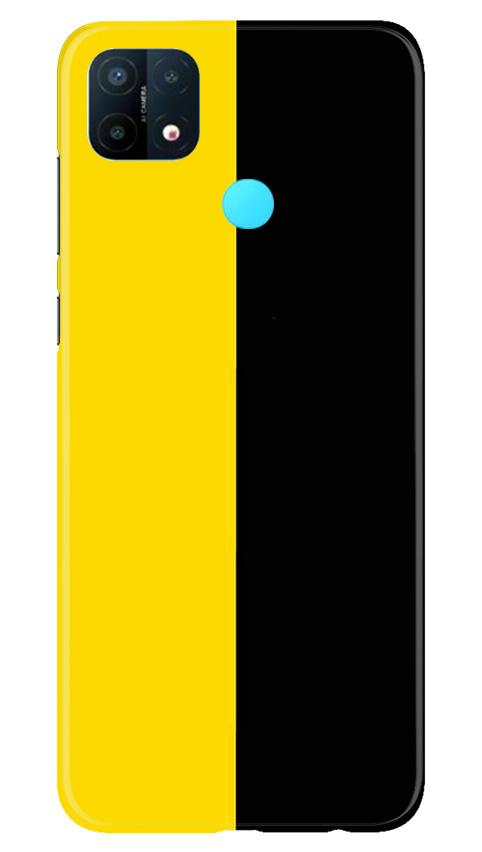 Black Yellow Pattern Mobile Back Case for Oppo A15 (Design - 397)