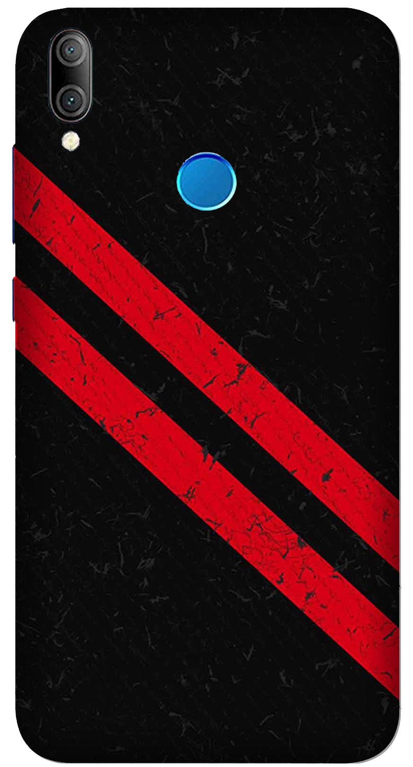 Black Red Pattern Mobile Back Case for Xiaomi Redmi Y3  (Design - 373)