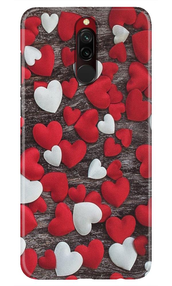 Red White Hearts Case for Xiaomi Redmi 8  (Design - 105)