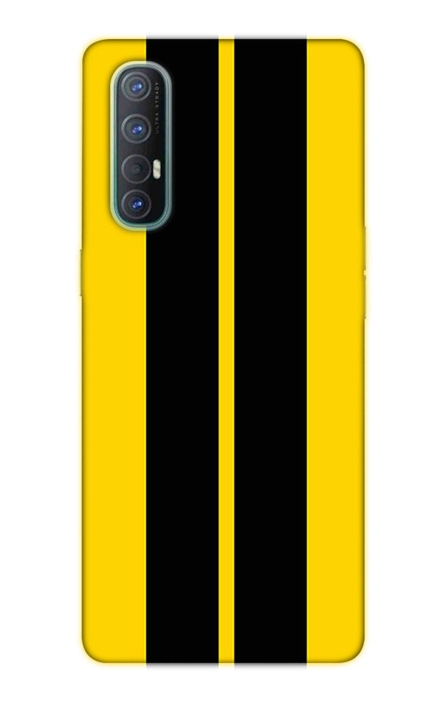 Black Yellow Pattern Mobile Back Case for Oppo Reno3 Pro  (Design - 377)