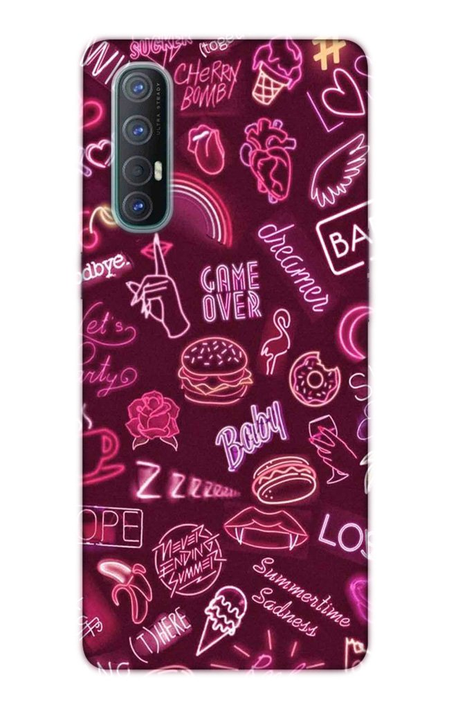 Party Theme Mobile Back Case for Oppo Reno3 Pro  (Design - 392)