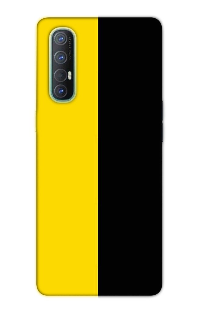 Black Yellow Pattern Mobile Back Case for Oppo Reno3 Pro  (Design - 397)