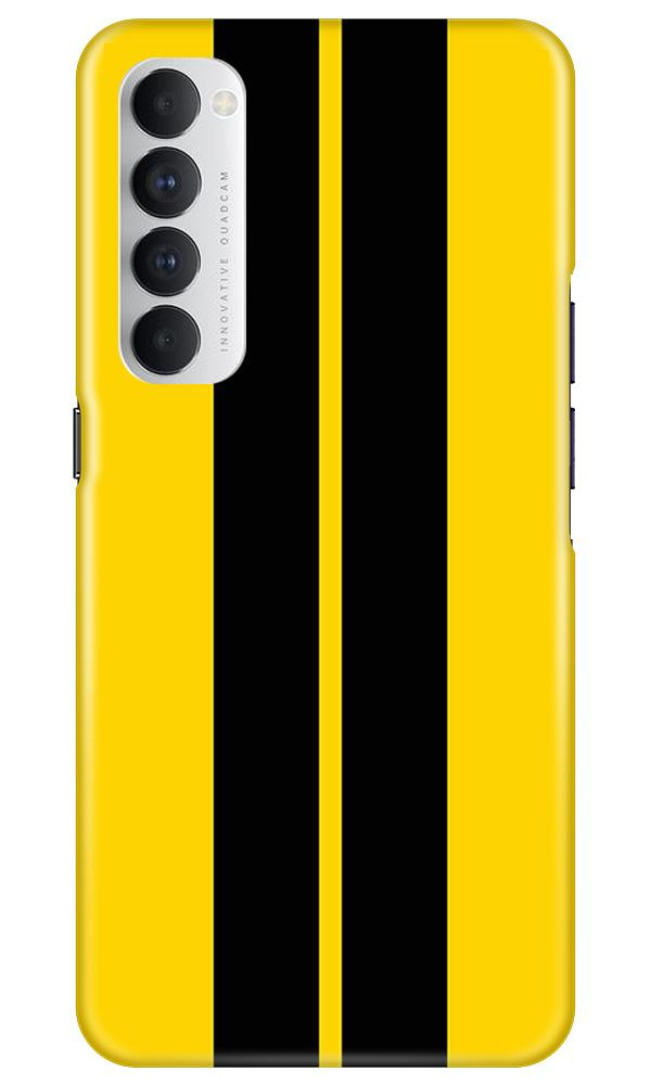 Black Yellow Pattern Mobile Back Case for Oppo Reno4 Pro  (Design - 377)