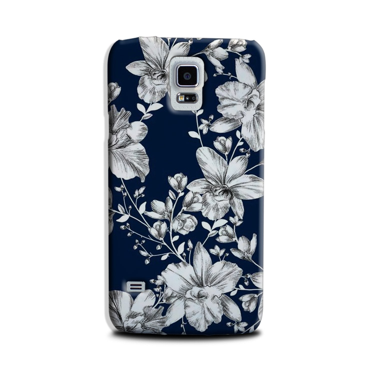 White flowers Blue Background Case for Galaxy S5