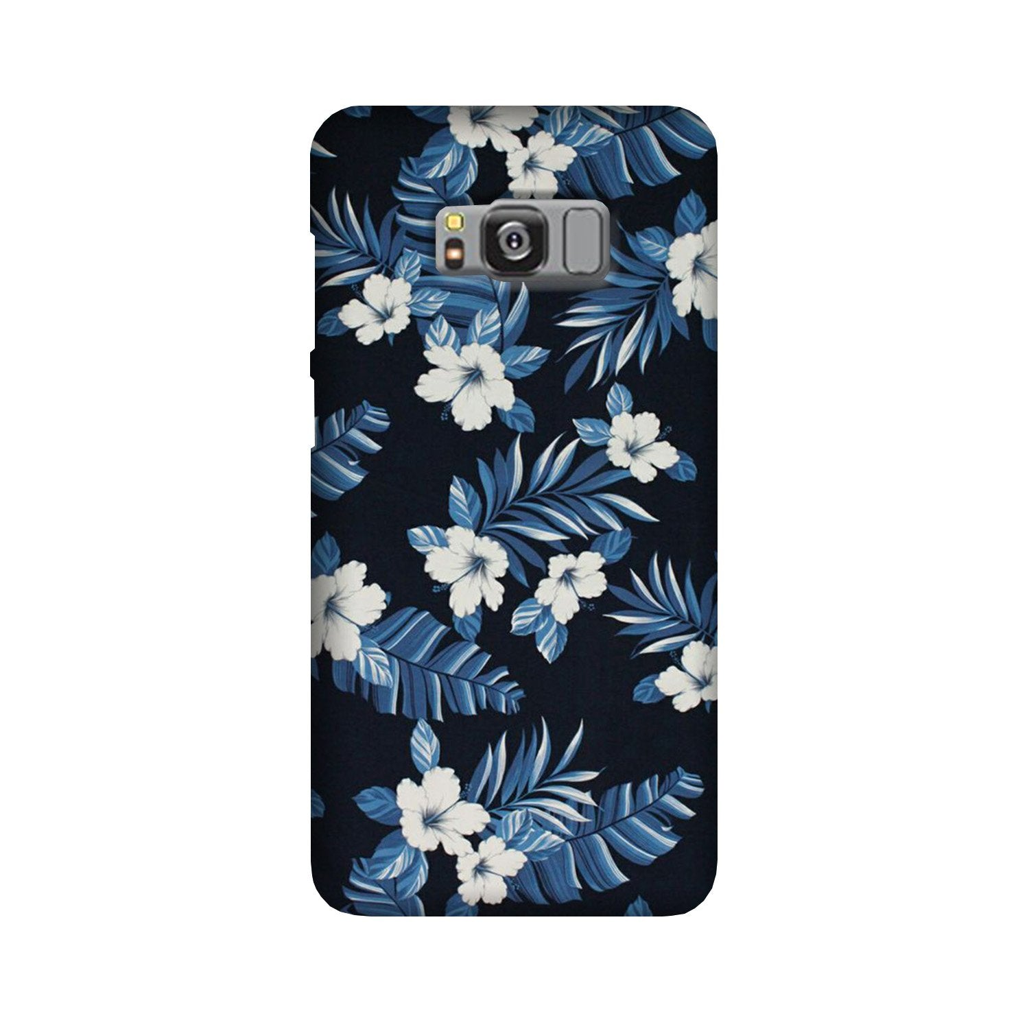 White flowers Blue Background2 Case for Galaxy S8