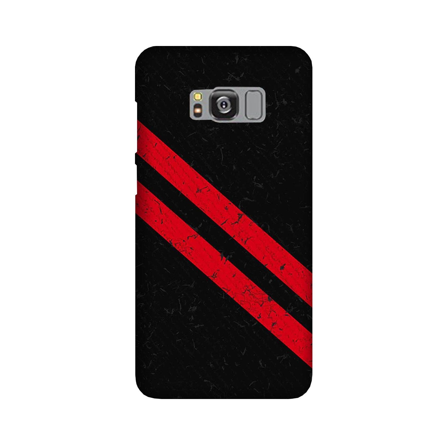 Black Red Pattern Mobile Back Case for Galaxy S8  (Design - 373)