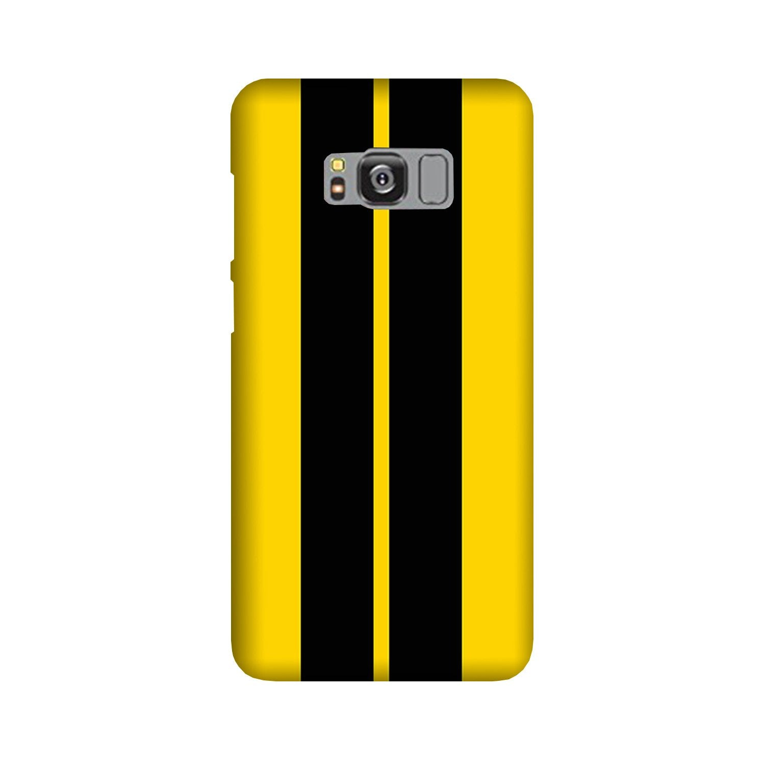 Black Yellow Pattern Mobile Back Case for Galaxy S8  (Design - 377)