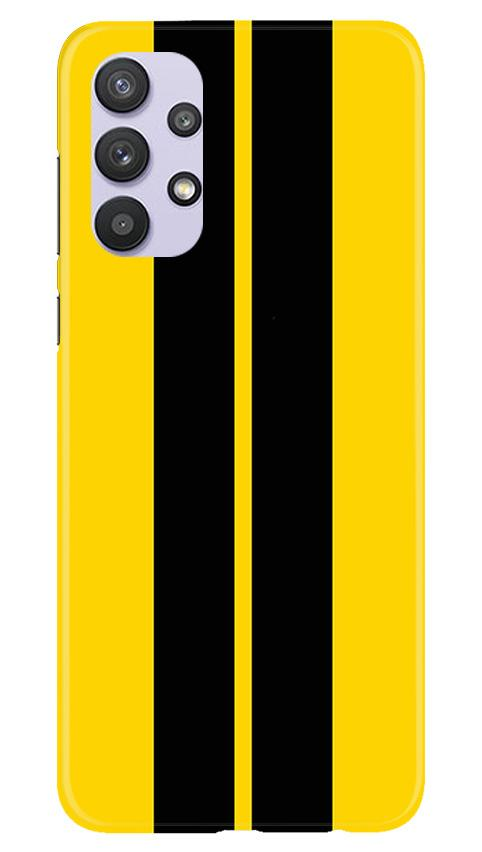 Black Yellow Pattern Mobile Back Case for Samsung Galaxy A32 (Design - 377)