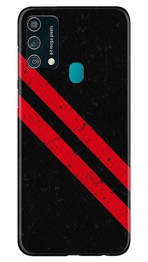 Black Red Pattern Mobile Back Case for Samsung Galaxy F41 (Design - 373)