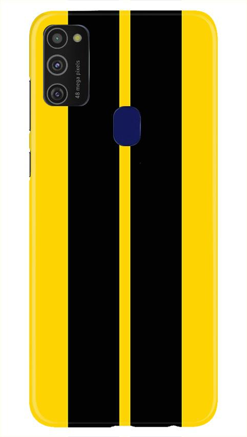 Black Yellow Pattern Mobile Back Case for Samsung Galaxy M21   (Design - 377)
