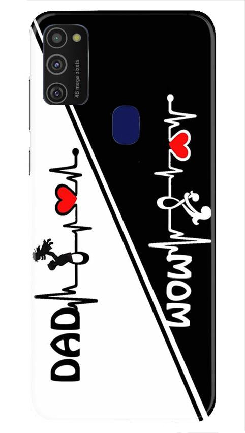 Love Mom Dad Mobile Back Case for Samsung Galaxy M21   (Design - 385)