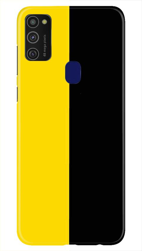 Black Yellow Pattern Mobile Back Case for Samsung Galaxy M21   (Design - 397)