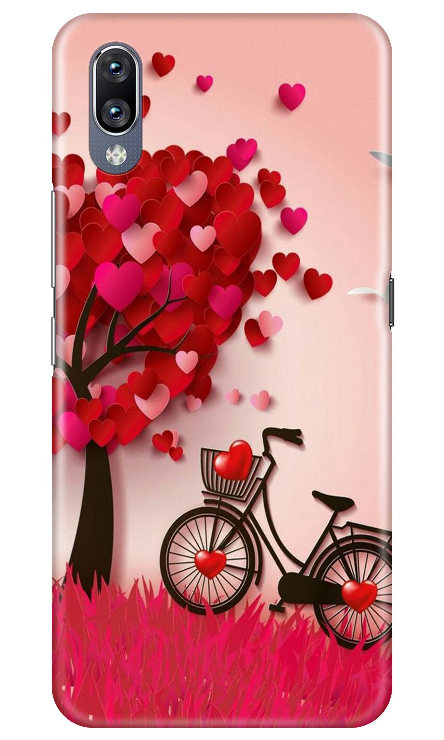Red Heart Cycle Case for Vivo Y91i (Design No. 222)