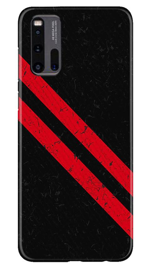 Black Red Pattern Mobile Back Case for Vivo iQ00 3 (Design - 373)