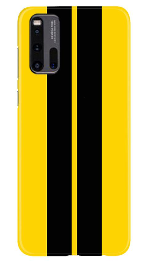 Black Yellow Pattern Mobile Back Case for Vivo iQ00 3 (Design - 377)
