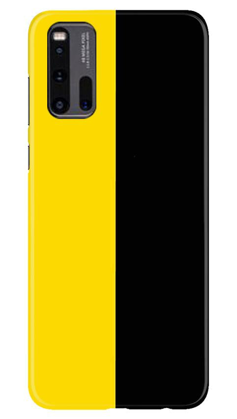 Black Yellow Pattern Mobile Back Case for Vivo iQ00 3 (Design - 397)