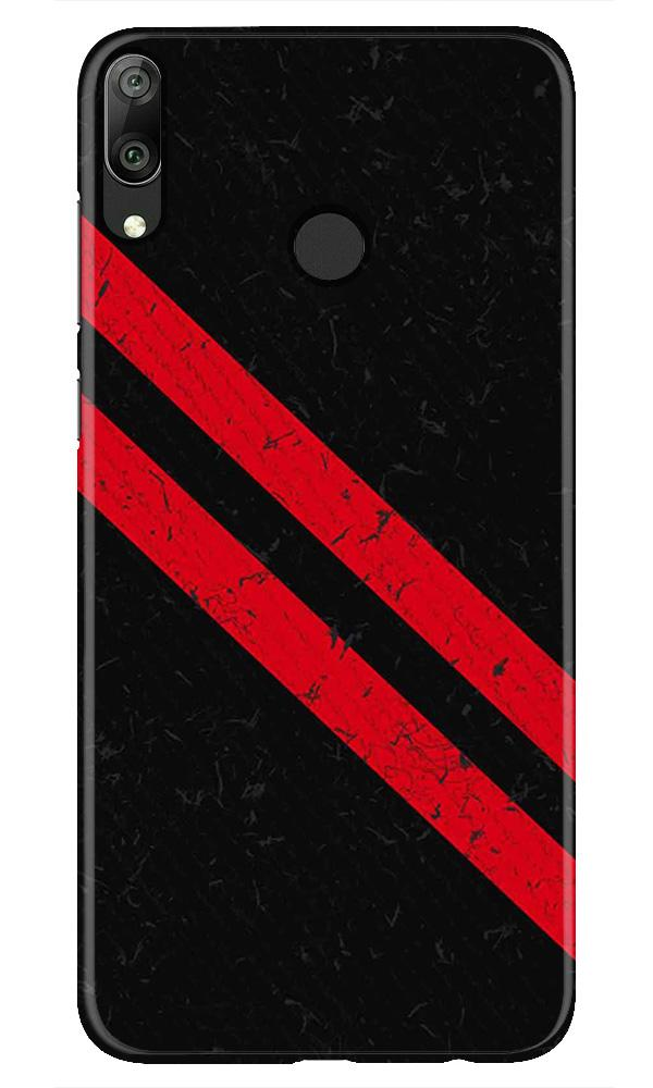 Black Red Pattern Mobile Back Case for Honor Play (Design - 373)