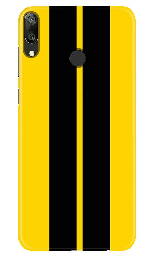 Black Yellow Pattern Mobile Back Case for Honor Play (Design - 377)