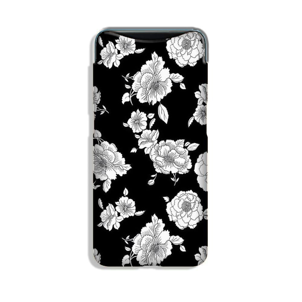 White flowers Black Background Case for Oppo Find X
