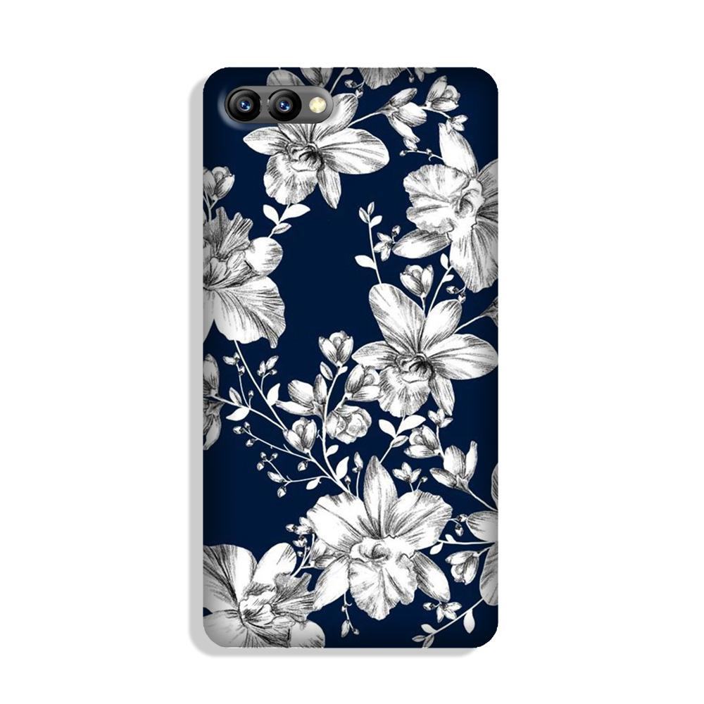 White flowers Blue Background Case for Honor 10