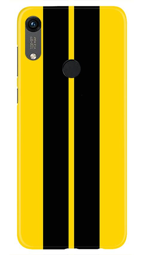 Black Yellow Pattern Mobile Back Case for Honor 8A (Design - 377)
