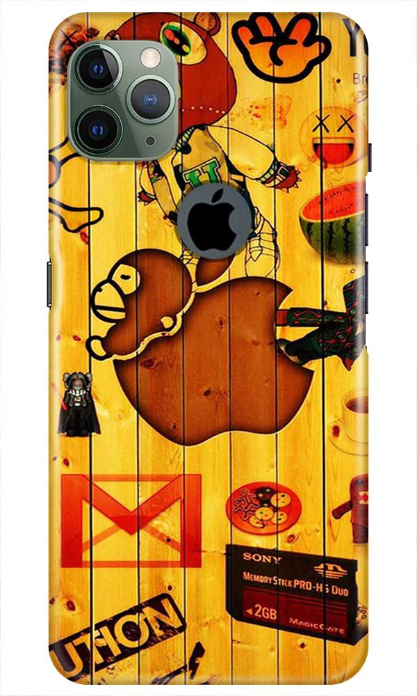 Wooden Texture Mobile Back Case for iPhone 11 Pro Max Logo Cut (Design - 367)