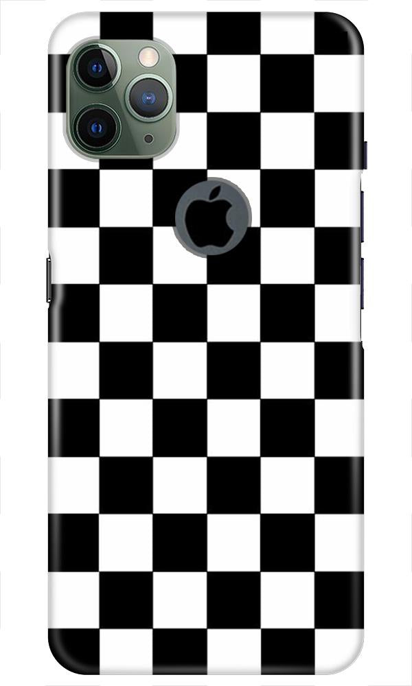 Black White Boxes Mobile Back Case for iPhone 11 Pro Max Logo Cut (Design - 372)