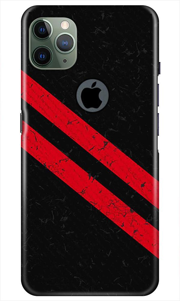 Black Red Pattern Mobile Back Case for iPhone 11 Pro Max Logo Cut (Design - 373)