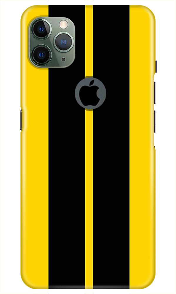 Black Yellow Pattern Mobile Back Case for iPhone 11 Pro Max Logo Cut (Design - 377)