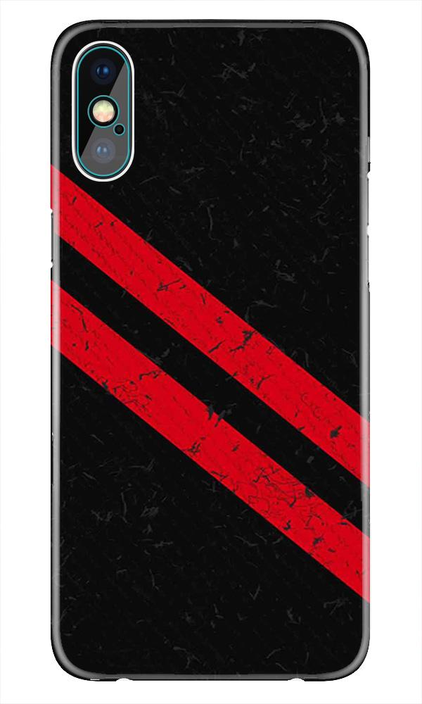 Black Red Pattern Mobile Back Case for iPhone X  (Design - 373)